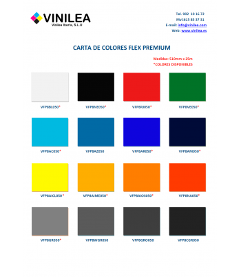 Carta de Colores Vinilo Textil Flex Premium Vinilea